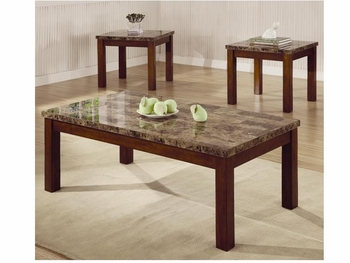 3 PC Occasional Table Set with Marble Look Top