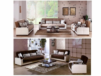 3PC Set Natural Living Room Sofa Sleeper, Loveseat and Armchair