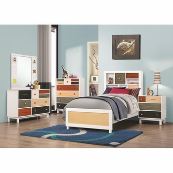 4 PC Lemoore Twin Multi-Color Bookcase Bedroom