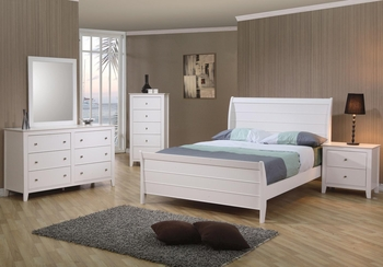 4 PC Selena Full Sleigh Bedroom set with Panel Detail