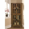 4 Shelf Corner Curio Cabinet with Windowpane-Style Door Fronts