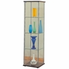 4 Shelf Glass Curio Cabinet with Cappuccino Top & Bottom
