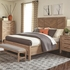 4PC Auburn Queen Panel Bed with Chevron Inlay Design Set by Scott Living