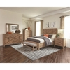 4PC Auburn Queen Panel Bed with Chevron Inlay Design Set