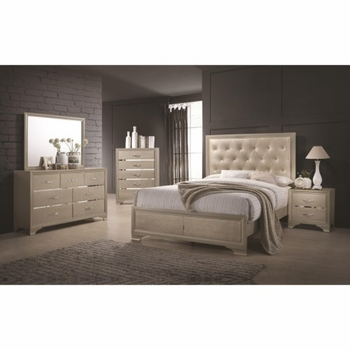 4PC Beaumont Upholstered Queen Bed with Button Tufting 205291 Bedroom Set