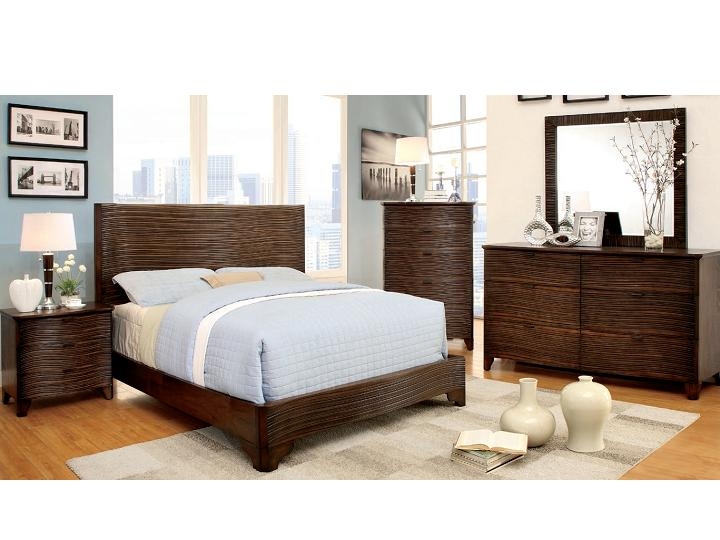 contemporary 4pc bedroom set queen bed nightstand dresser mirror