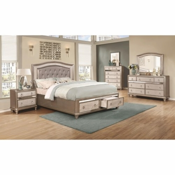 4PC Bling Game Upholstered Queen Bedroom