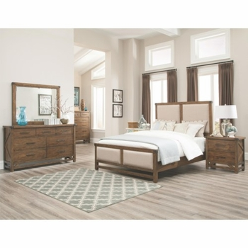 4PC Bridgeport Queen Bed With Upholstered Headboard and Footboard bedroom set