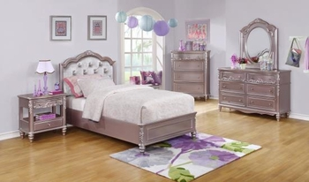 4PC Caroline Twin Size Bed and Diamond Tufted Headboard Bedroom Set