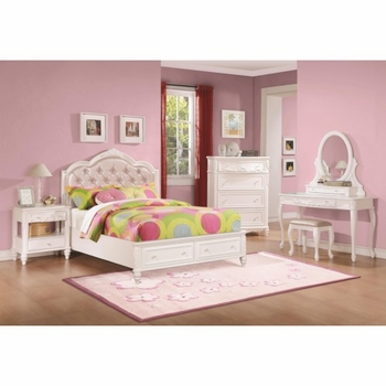 4PC Caroline Twin Size Storage Bed with Diamond Tufted Headboard Bedroom Set