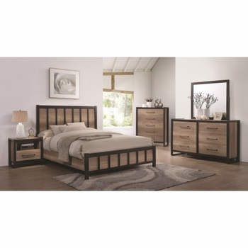 4PC Edgewater Queen Industrial Panel Bed