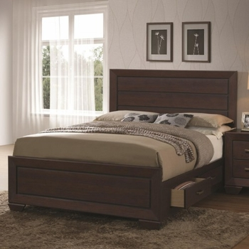 4PC Fenbrook Transitional Queen Bed with Storage Drawers