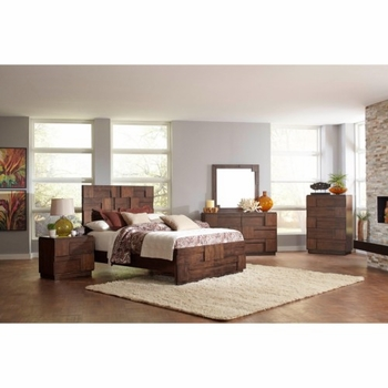 4PC Gallagher Queen Bed with Geometric Layered Wood Patterns Bedroom Set