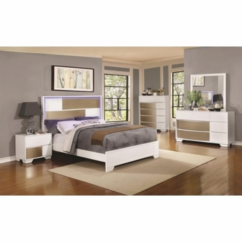 4PC Havering Queen Bed with LED Lighted Headboard