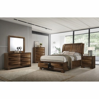 4PC Hunter Queen Platform Bed with Storage Footboard