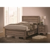 4PC Kauffman Queen Bed with Panel Design and Storage Footboard Bedroom Set