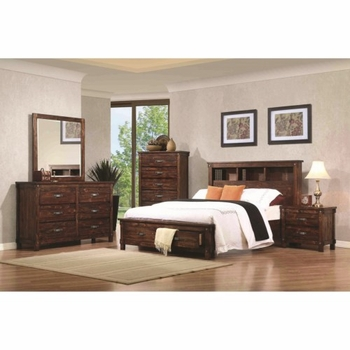 4PC Noble Queen Bookcase Bed with Dovetail Drawers Bedroom Set