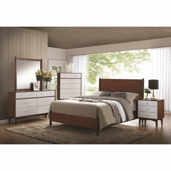 4PC Oakwood Mid-Century Modern Queen Panel Bedroom set