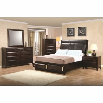 4PC Phoenix Queen Upholstered Storage Platform Bedroom Set