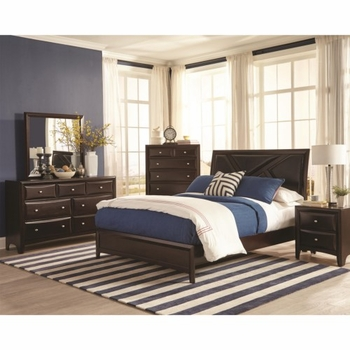 4PC Rossville Queen Bed with Upholstered Headboard
