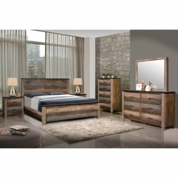 4PC Sembene Rustic Queen Bed with Nailhead Accents Bedroom Set