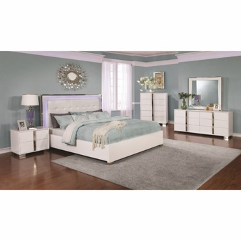 4PC Traynor Contemporary Queen Bed with Upholstered LED Headboard Bedroom set