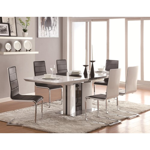 Exceptionnel 5 PC Broderick Contemporary White Dining Table Set With Upholstered Dining  Chairs And Chrome Base