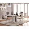 5 PC Broderick Contemporary White Dining Table Set with Upholstered Dining Chairs and Chrome Base