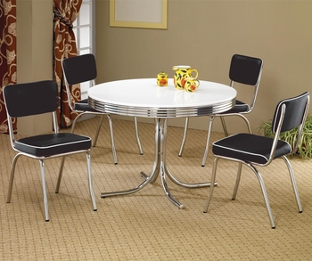 5 PC Cleveland Round Dining Table & Upholstered Chairs