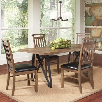 5 PC Ferguson Industrial Table Set with Slat Back Side Chairs