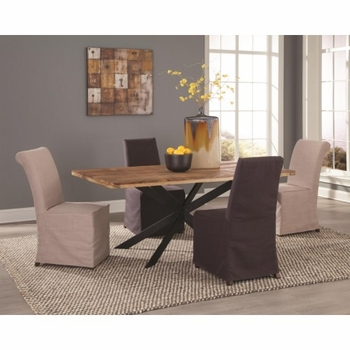 5 PC Galloway Rustic Table and Slip Cover Chair Set