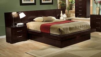 5 PC Jessica 200711 Queen Pier Platform Bedroom set with Rail Seating and Lights