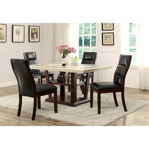 Modern 5pc Faux Marble Wooden Base Dining Room Table 4 Chairs Manassas Va Furniture Stores