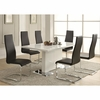 5 PC Modern Dining White Table & Black Upholstered Chairs Set