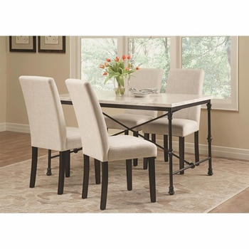 5 PC Nagel Industrial Table Set with Fabric Side Chairs