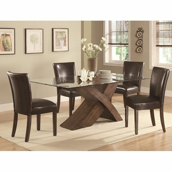5 PC Nessa X Base Dining Table & Parson Chair Set