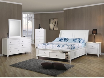 5 PC Sandy Beach full Sleigh Bedroom set with Footboard Storage