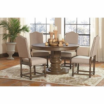5 PC Willem Round Single Pedestal Table Set