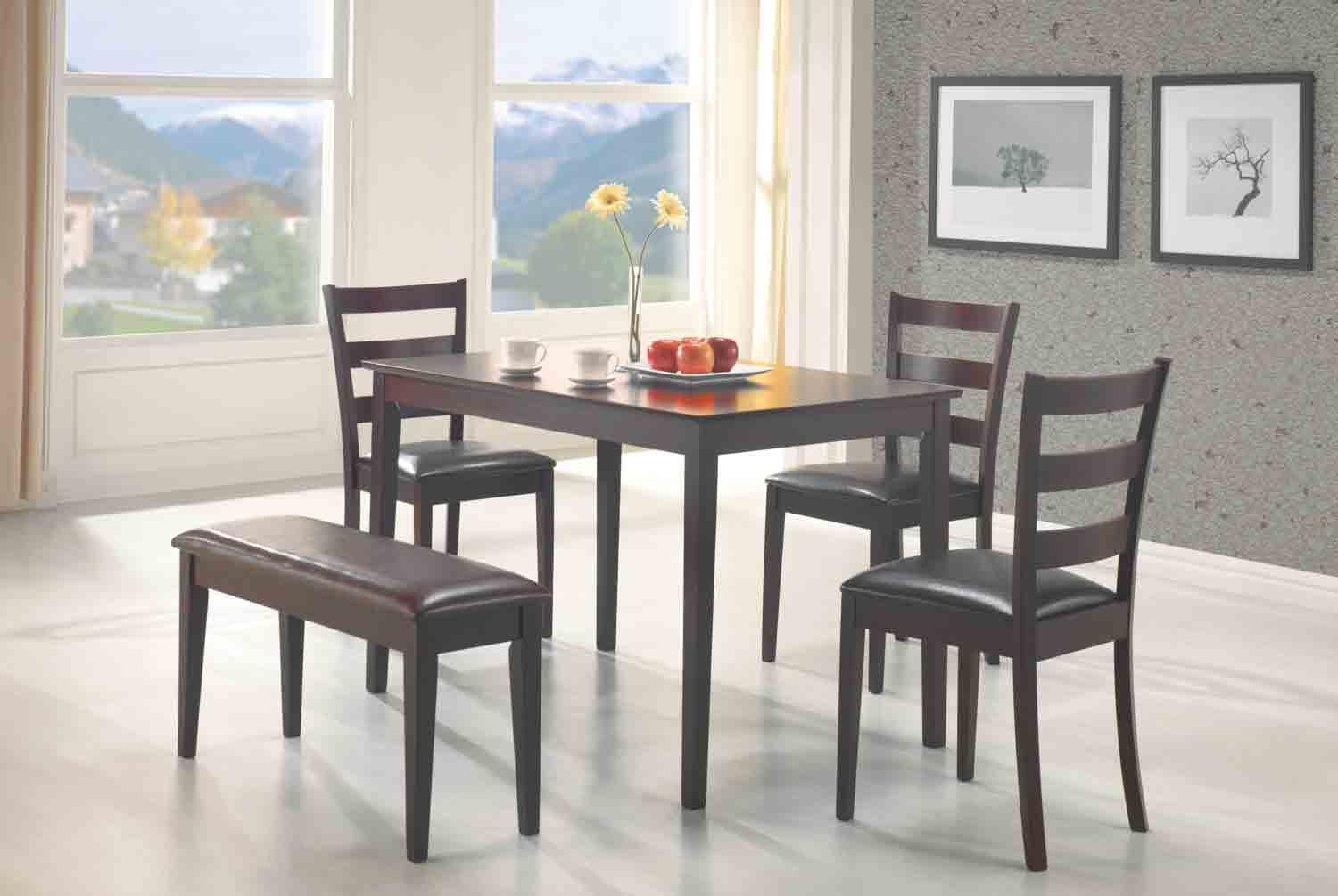 5 PCS Dining Set Table, 3 Chairs and Bench DC Furniture