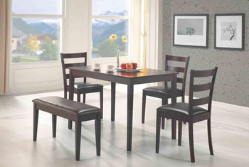 5 PCS Taraval Dining Set Table, 3 Chairs and Bench Furniture