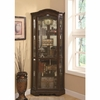5 Shelf Corner Curio Cabinet with Shaped Crown & Base