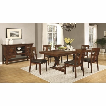 5PC Abrams Dining Table Set with Slat Back Side Chairs