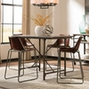 5PC Antonelli Counter Height Table and Leather Stool Set