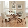 5PC Barett Round Table with Glass Top with 4 Chairs Set