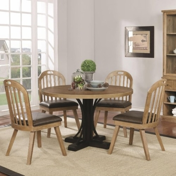 5PC Bishop Two-Tone Round Table and Chair Set