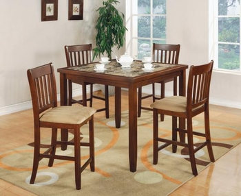 5PC Counter Height faux marble table and 4 chairs