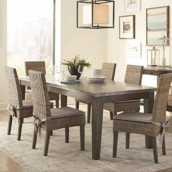5PC Davenport Rustic Metal Top Dining Set