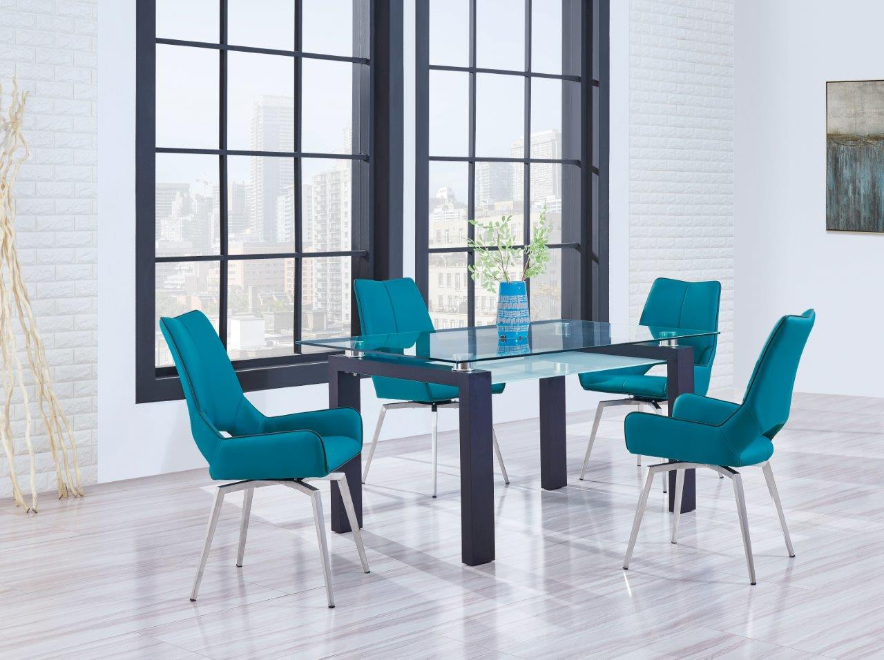modern 5PC Dining set dining glass table dining chairs D646DT W ...