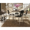 5PC Eldridge Contemporary Pub Table Set with Weathered Table Top and Chrome Base and 5 Upholstered Stools