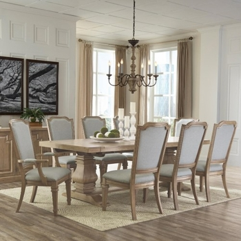 7 PC Florence Neoclassic Inspired Table, 4 Side Chair and 2 Arm Chairs
